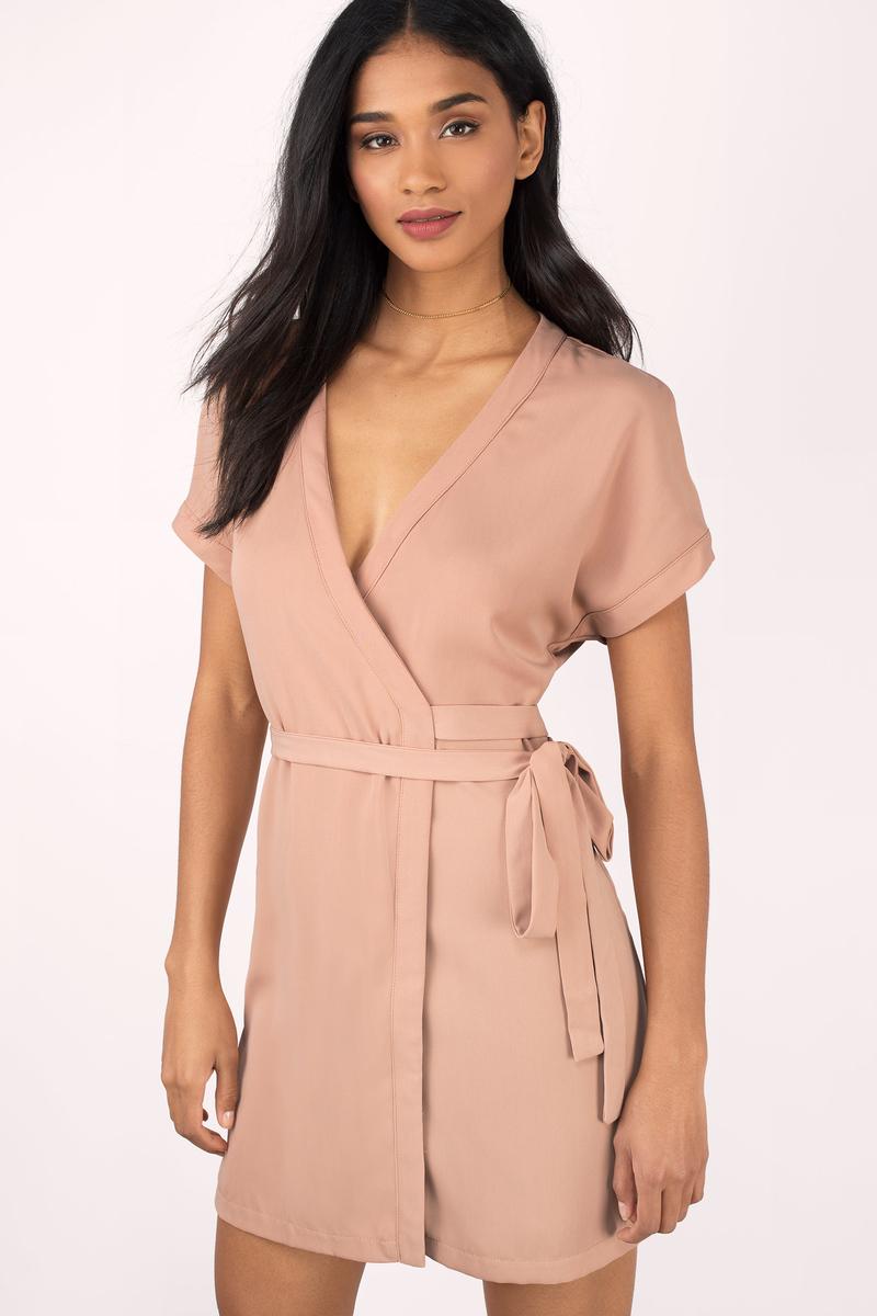ce0422a03515 Cute Toast Wrap Dress - Short Sleeve Dress - Wrap Dress -  68