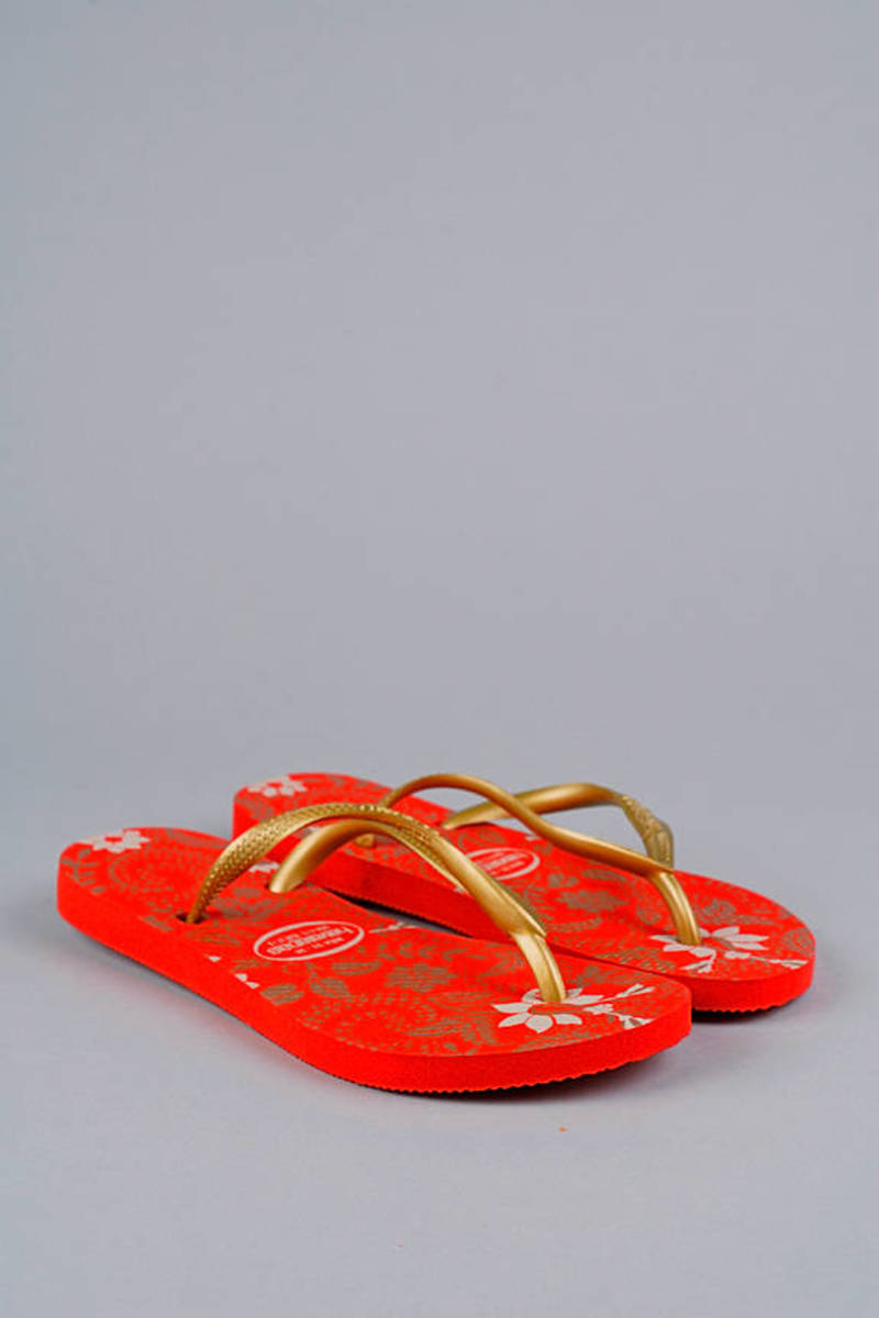 6d87b425c961ff Red Havaianas Sandals - Floral Print Flip Flops - Red And Gold ...
