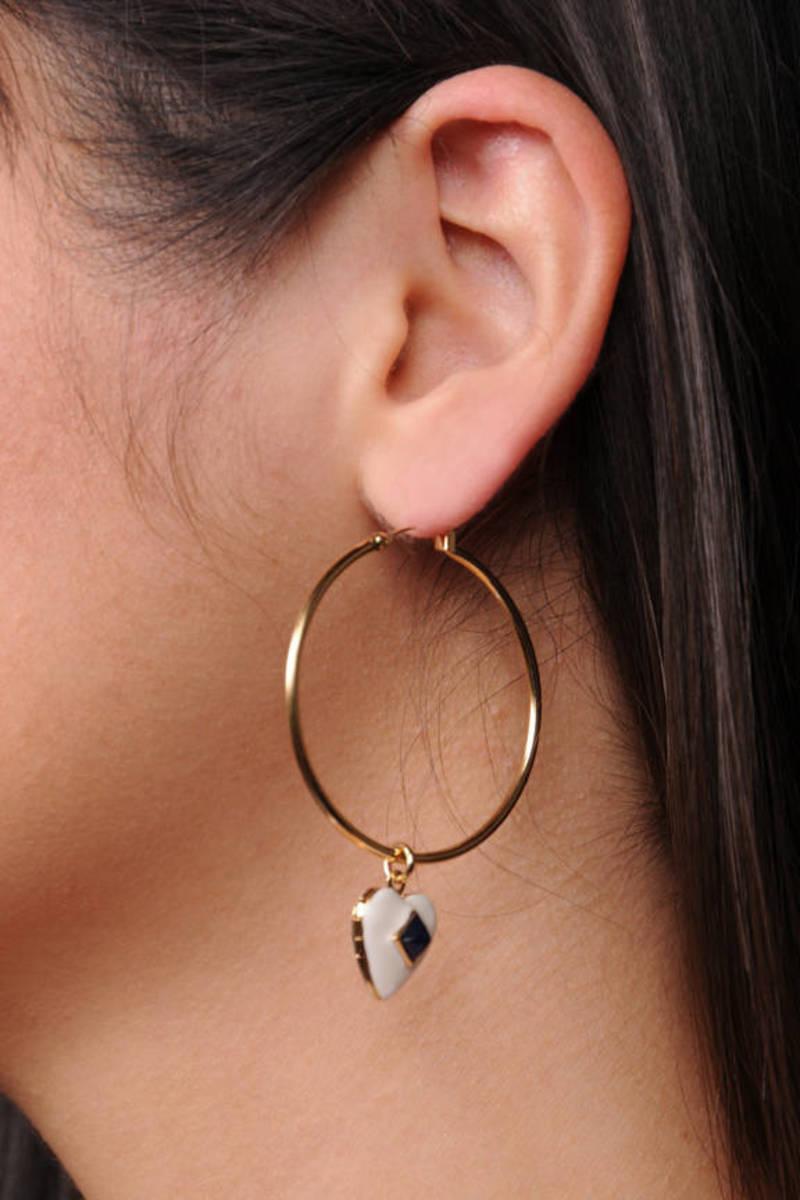 92ec8e42121d2 Gold Hoop Earrings w/ Navy/White Locket