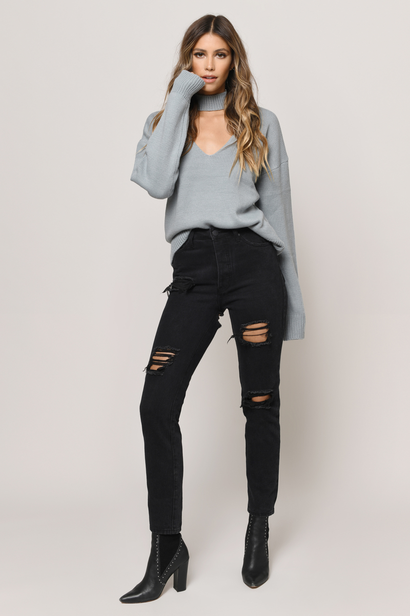 Alice Vintage Blue Choker Neck Sweater - $27 | Tobi US