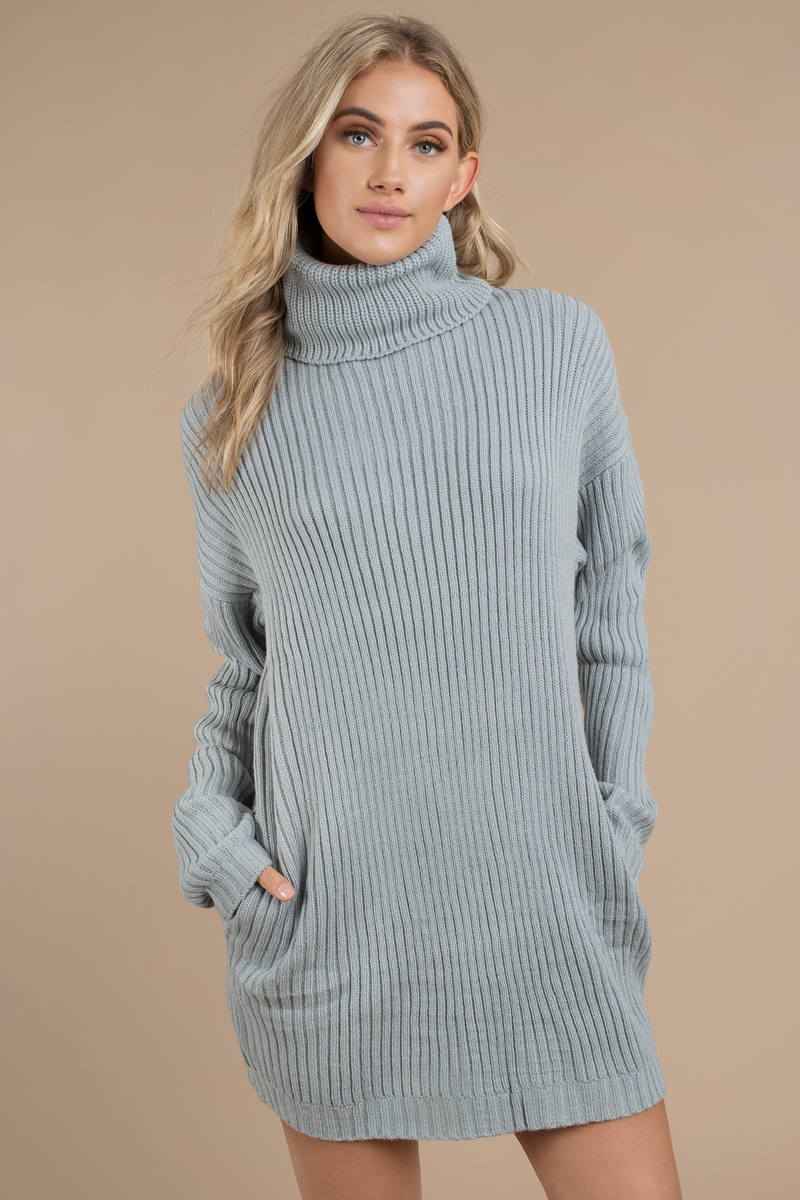 Blue Casual Dress Turtleneck Dress Blue Sweater Dress 44