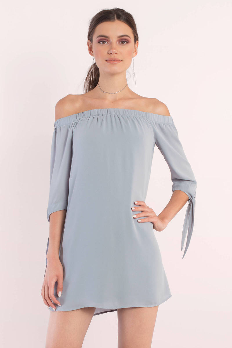 Cute Vintage Blue Shift Dress - Off Shoulder Dress - Shift Dress ...