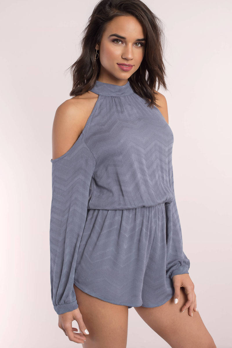 Olivia Cold Shoulder High Neck Romper