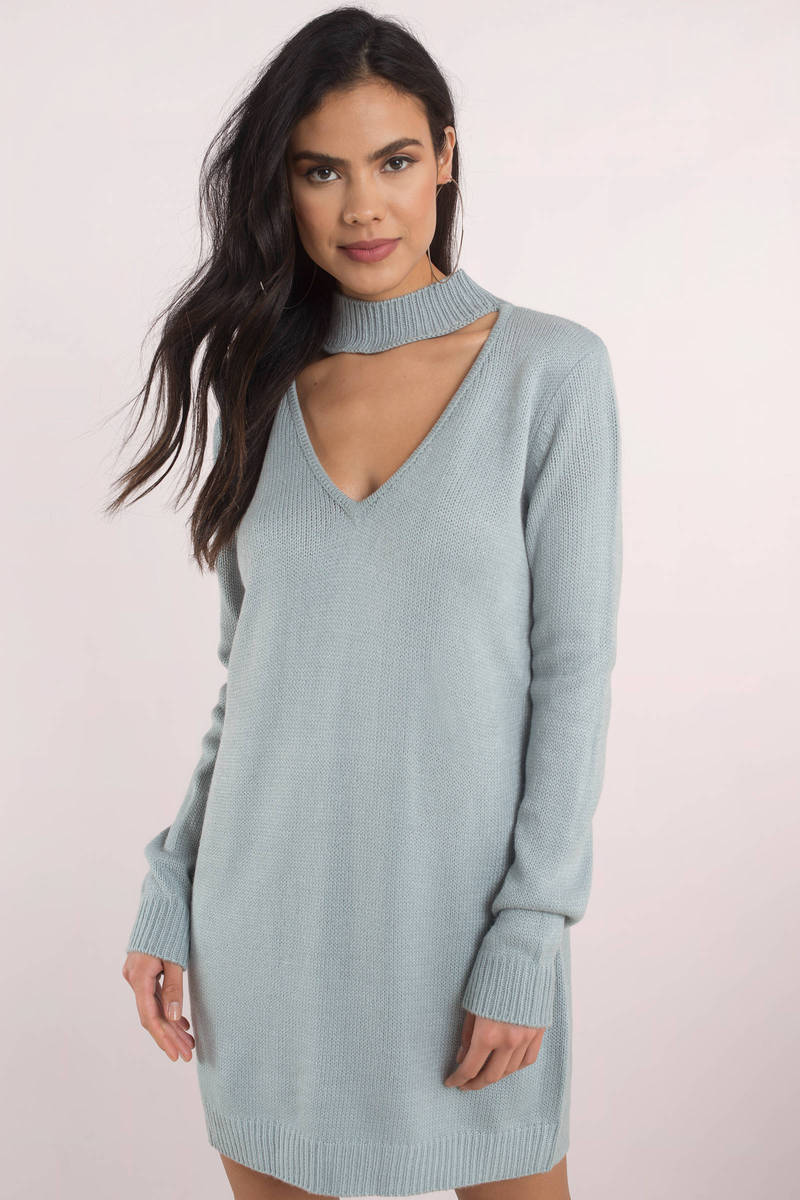 Cute Blue Casual Dress - Choker Dress - Blue Sweater Dress - $19 ...