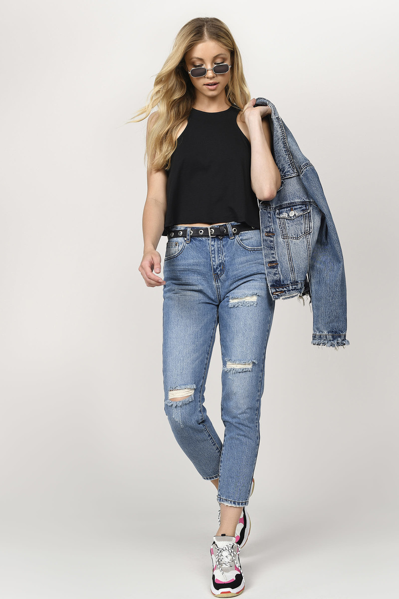 e4c3eb785f9e Blue Jeans - High Waisted Casual Jeans - Blue Relaxed Fit Jeans ...