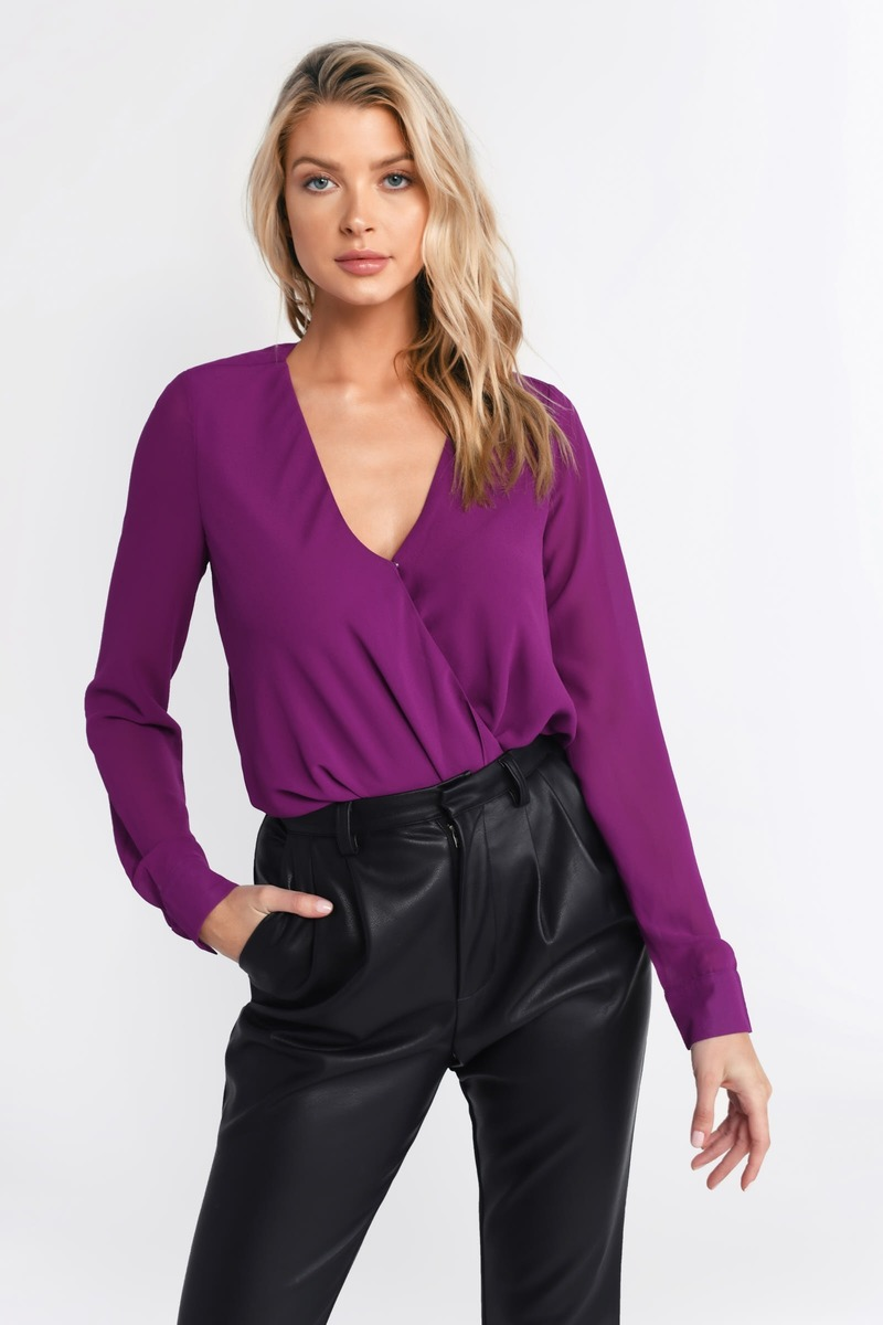 3e9c0e26fe308b Purple Blouse - Surplice Top - Purple Wrap Front Shirt - £20 | Tobi GB