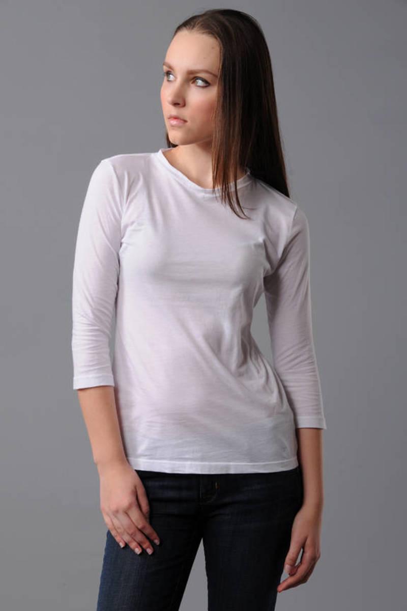 b8fbe8643 White James Perse Tee - High V Neck T Shirt - White 3/4 Sleeve Tee ...
