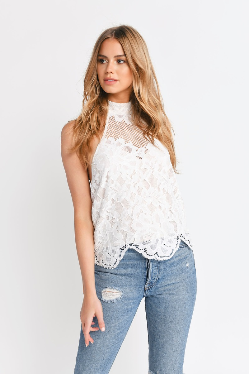 White Blouse - Backless Blouse - Cream Lace Top - $17 ...