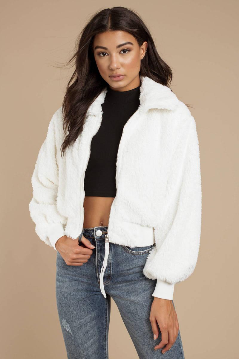White Fur Coat - Faux Fur Moto Jacket - White Zip Up Jacket - £109 ... 0368d095bc15