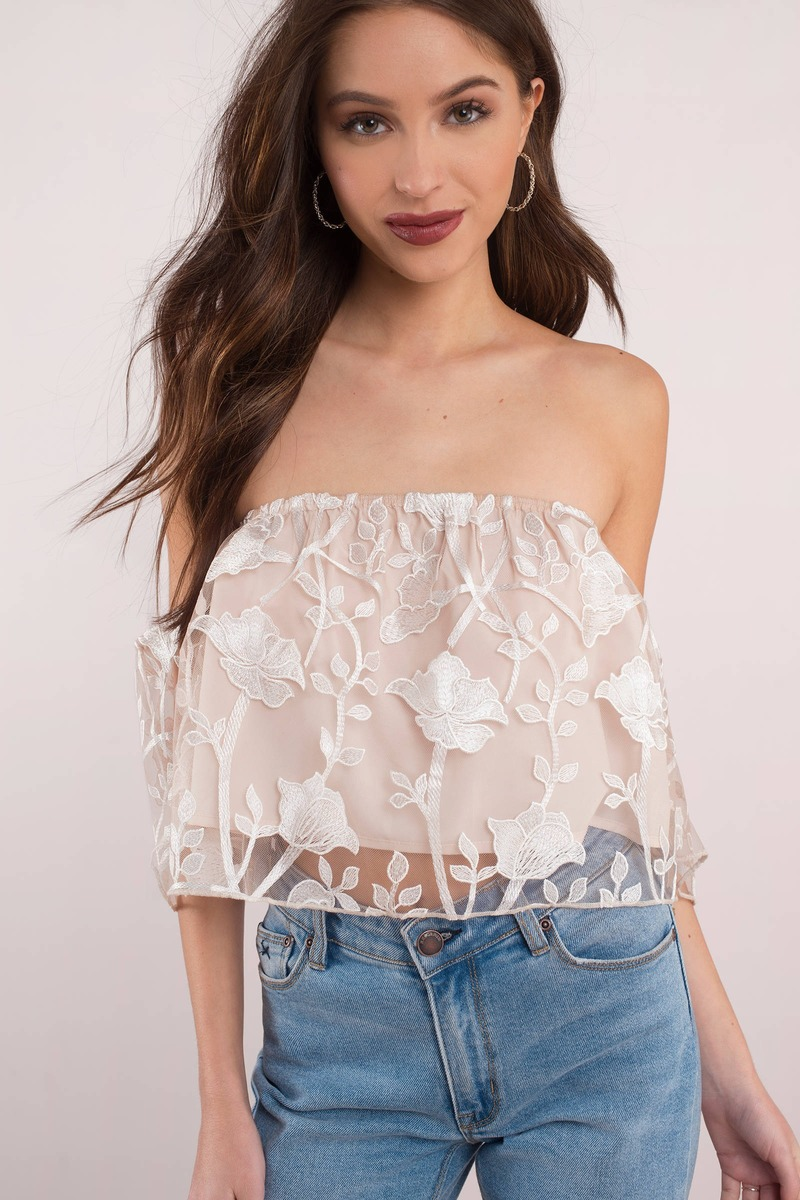 32829c12535 Cute White Crop Top - Off Shoulder Top - White Lace Overlay Top ...