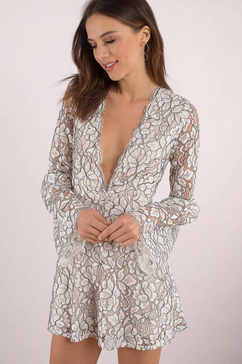 9b07e55e11e4 White Skater Dress - Lace Graduation Dress - White Bell Sleeve Dress ...