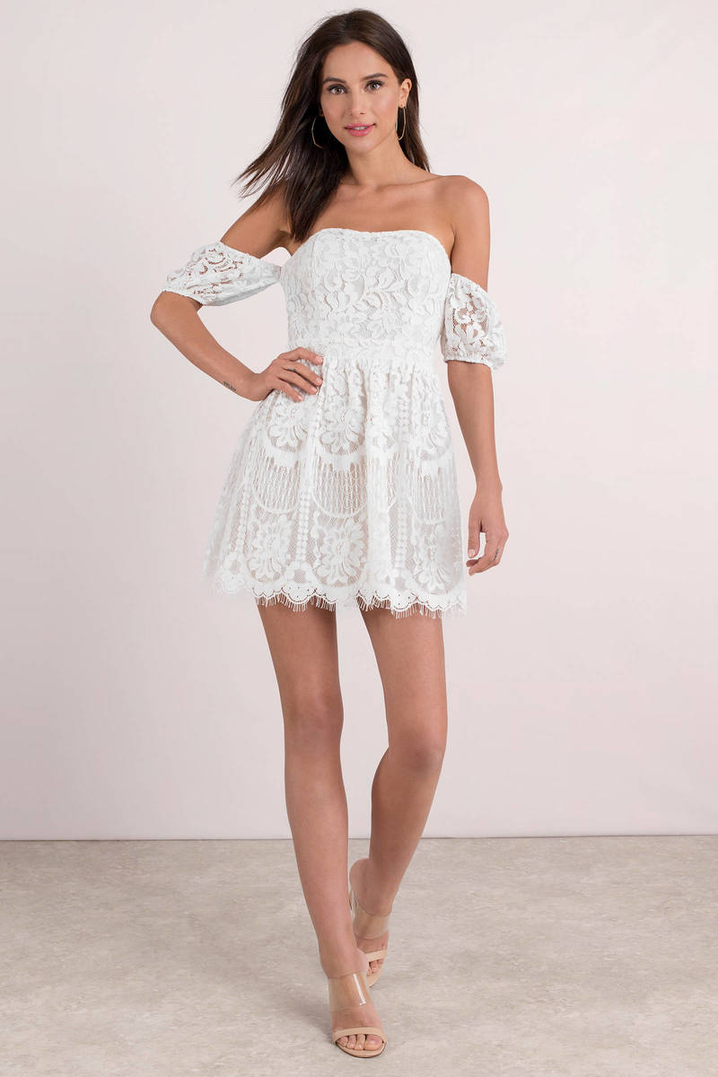 99318319a3 White Skater Dress - Off Shoulder Dress - Classic White Dress -  44 ...