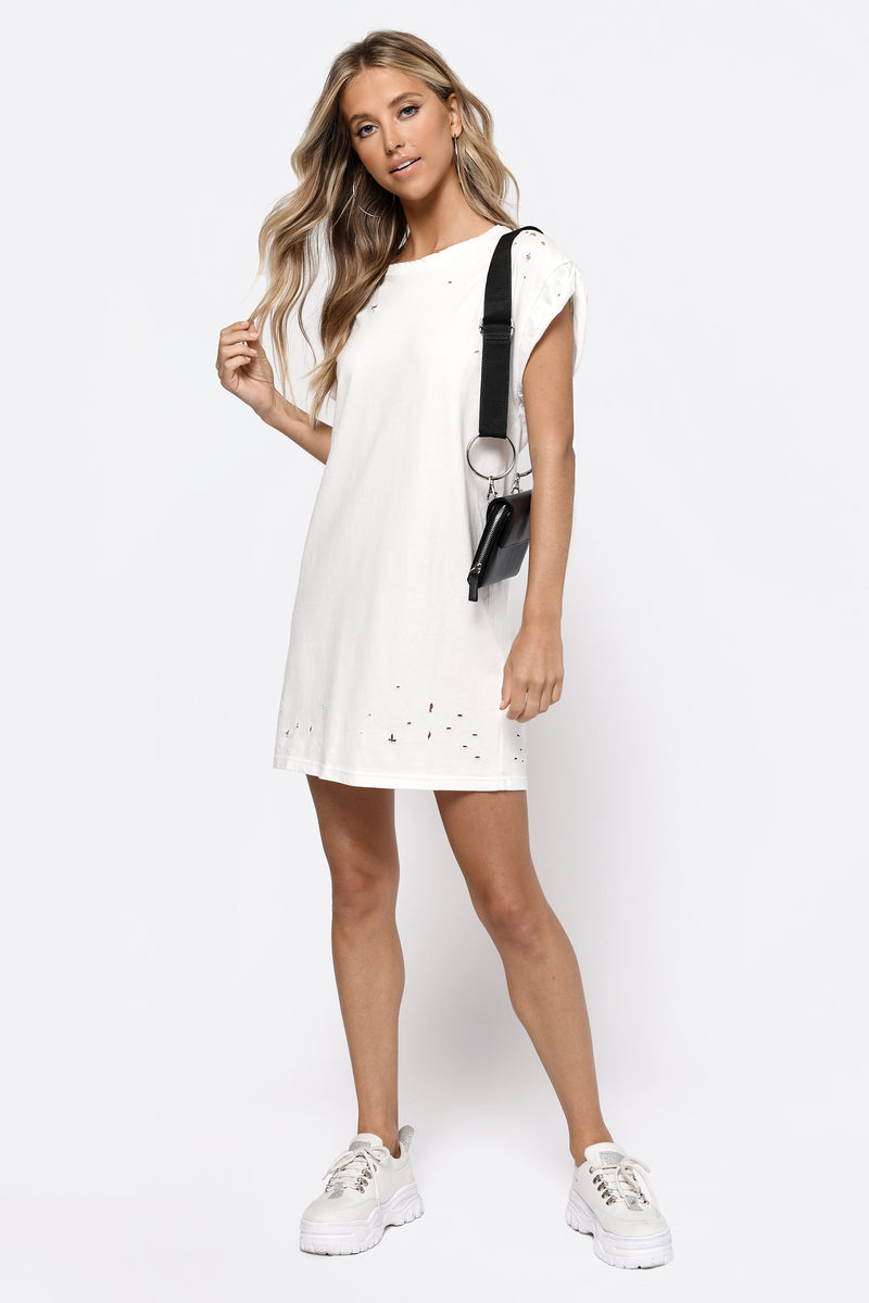 Trendy white day dress distressed dress for Dressy white t shirt