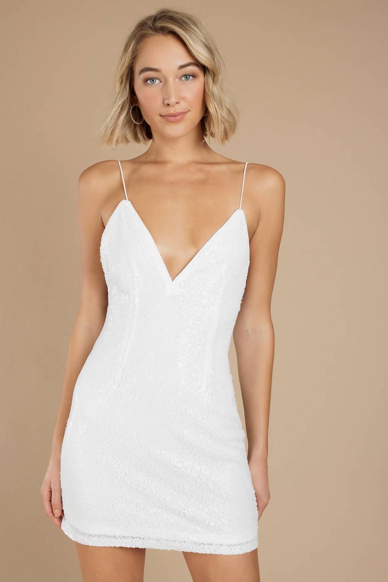 White Bodycon Dress - Plunging V Neck Dress - White Sequin Dress ... 8c5b8645e