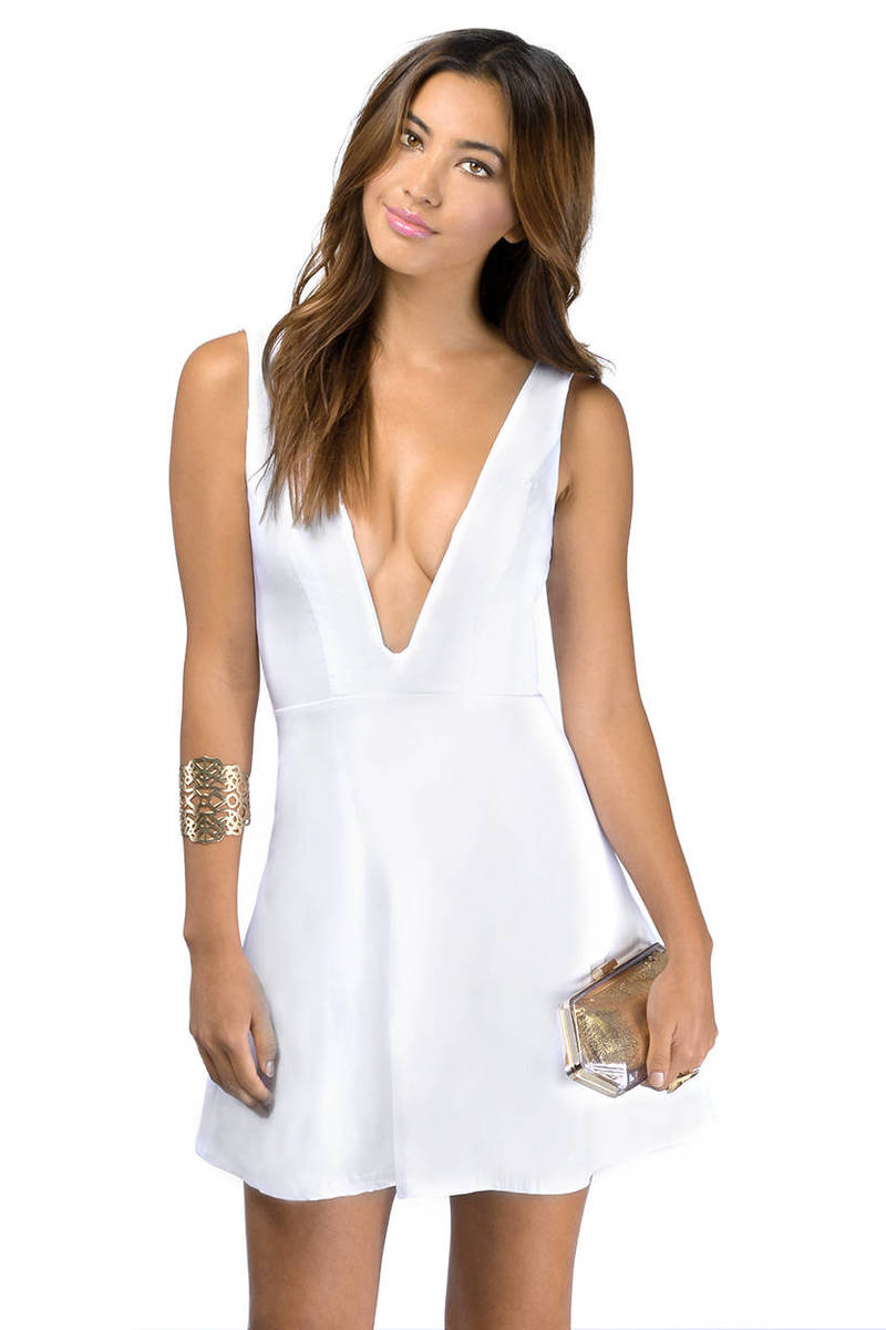 All For V White Skater Dress