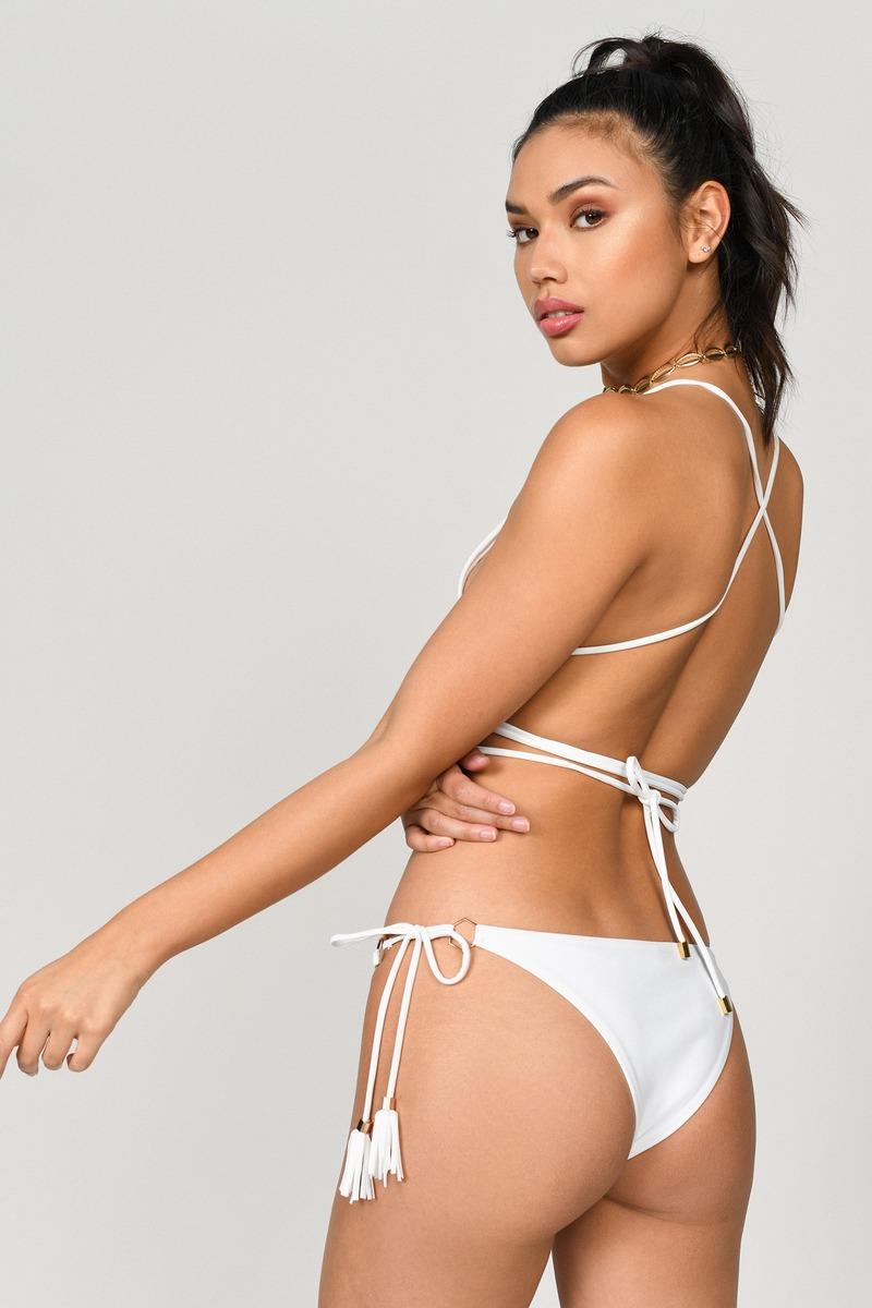 c5eada4536 White Bikini Bottom - Tie Side Bikini - White Tassel Bikini Set -  8 ...