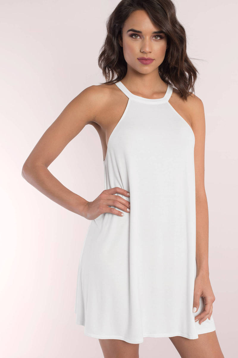 All My Love White Halter Shift Dress