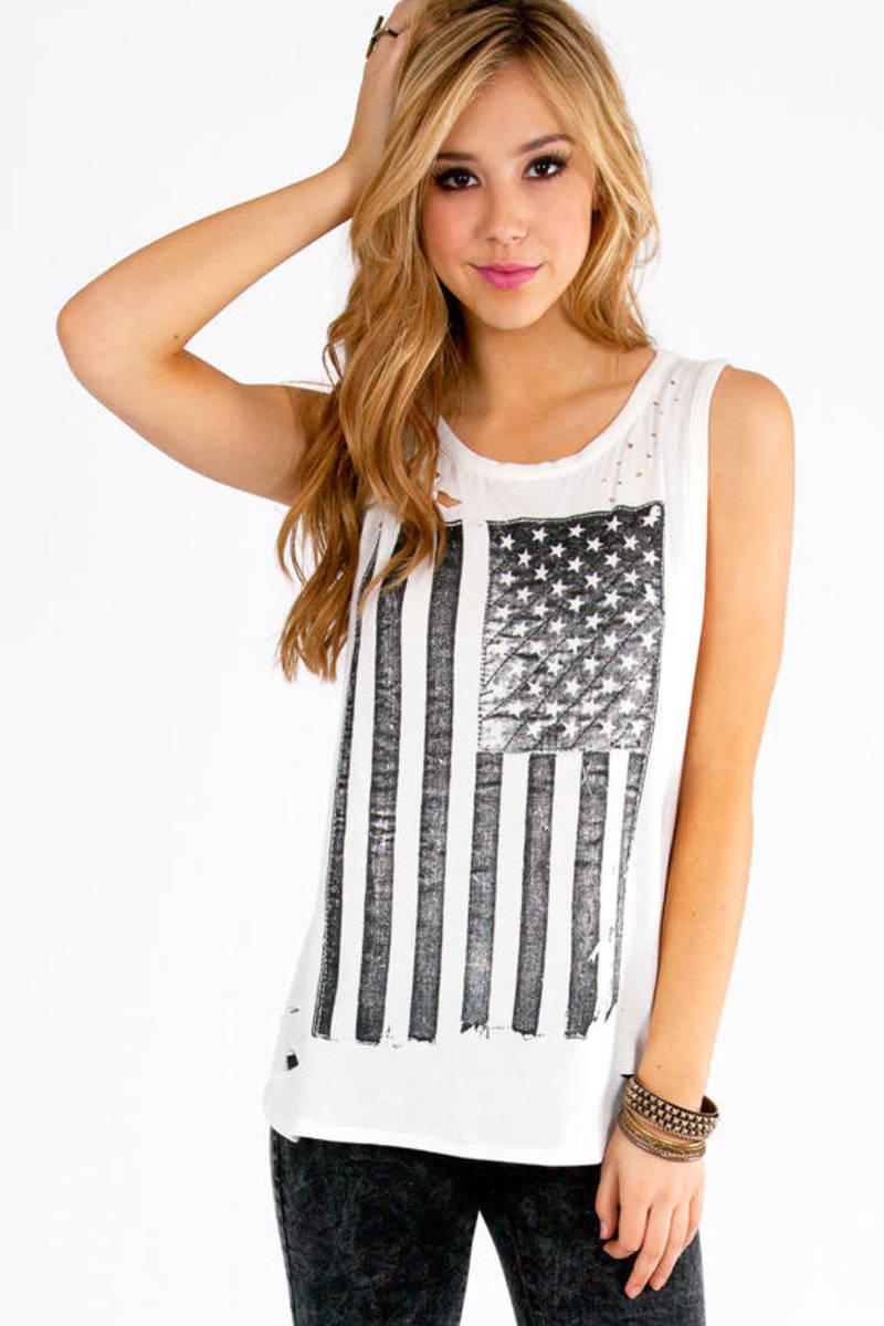 American Flag Long Tank Top