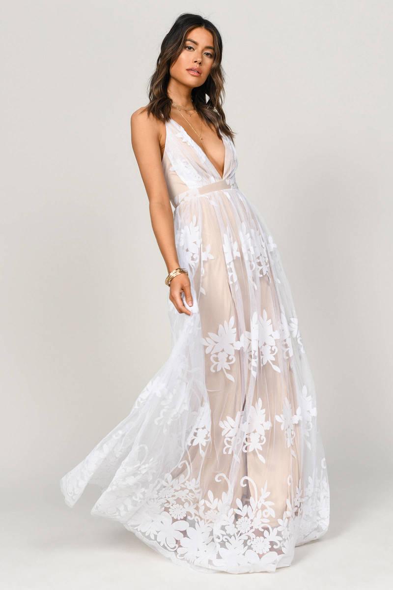 ad12b4a9801 Analise White Plunging Floral Maxi Dress - $138 | Tobi US