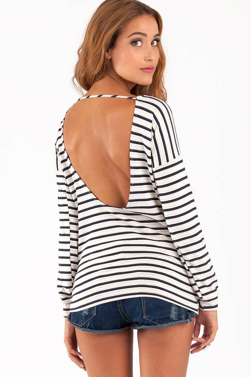 Skip Back Striped Top