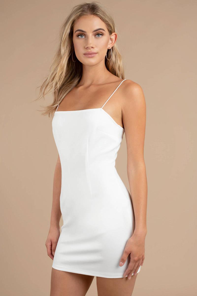 2803da5d8a1d White Bodycon Dress - Cami Mini Dress - White Vegas Dress - Party ...