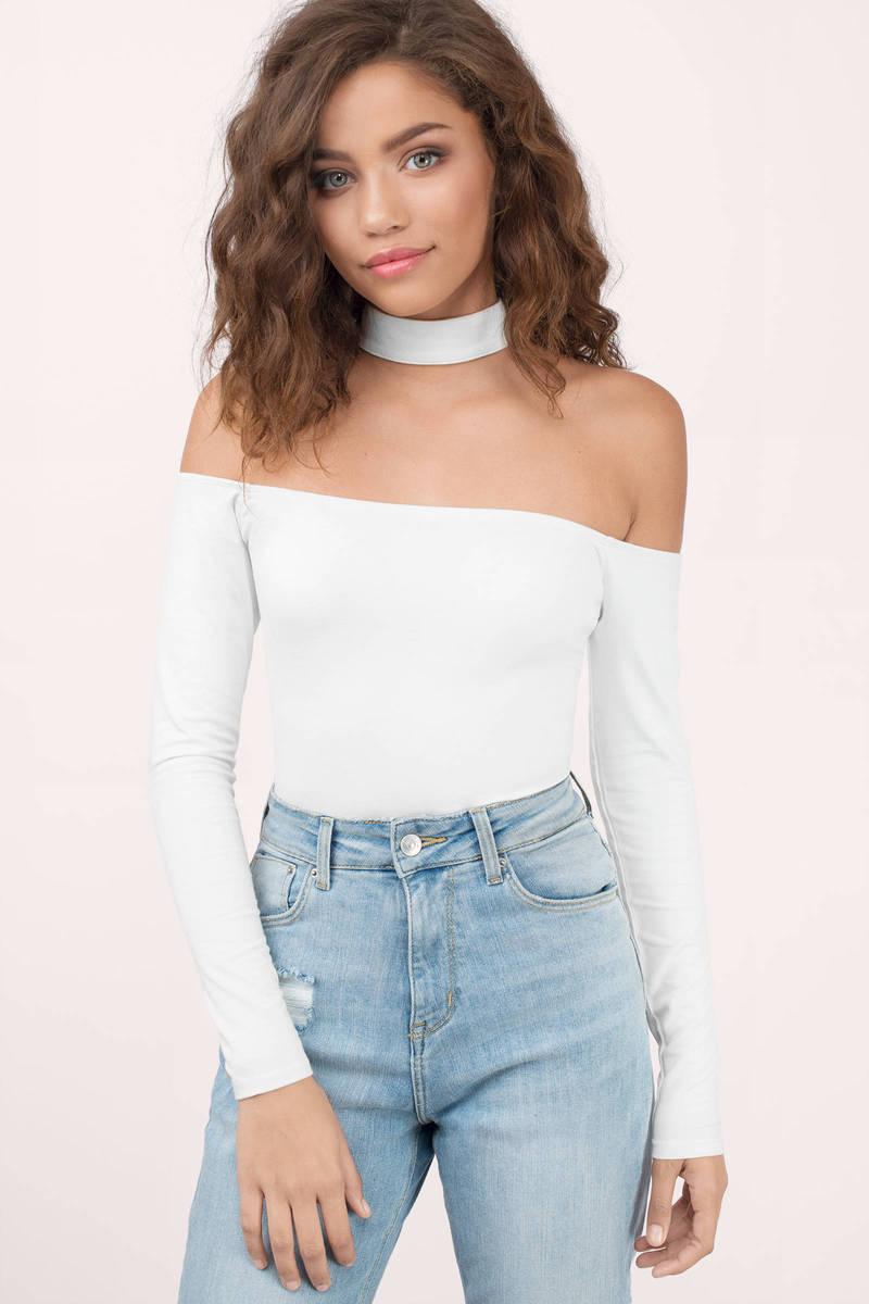 500e63a983b Trendy White Bodysuit - Choker Bodysuit - White Bodysuit - $10 | Tobi US