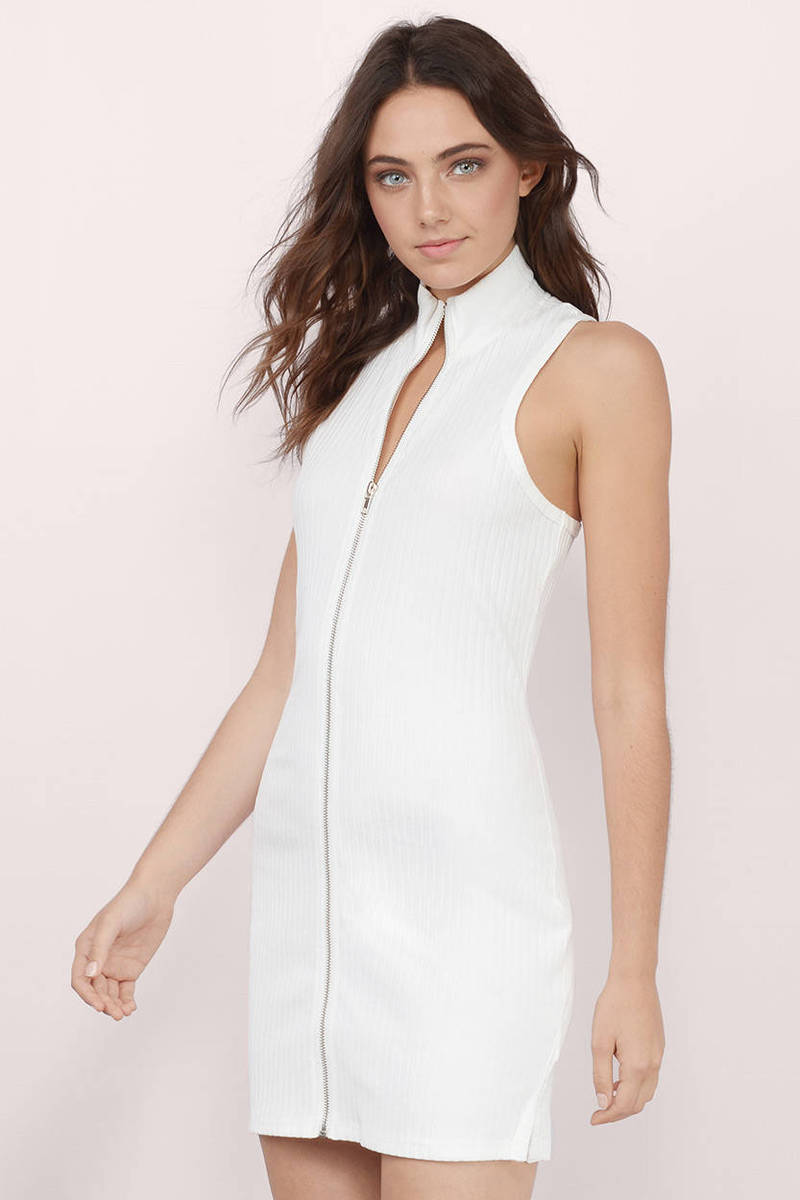 White Dress - Racerback Dress - Turtleneck Dress - Zipper Bodycon ...