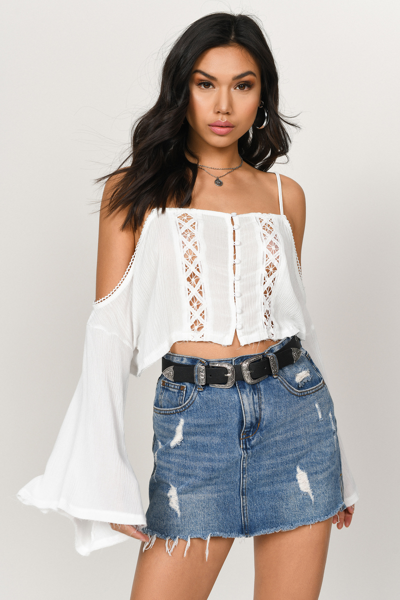 1789b8dfbe99ce Trendy White Crop Top - Boho Top - White Cold Shoulder Crop Top ...