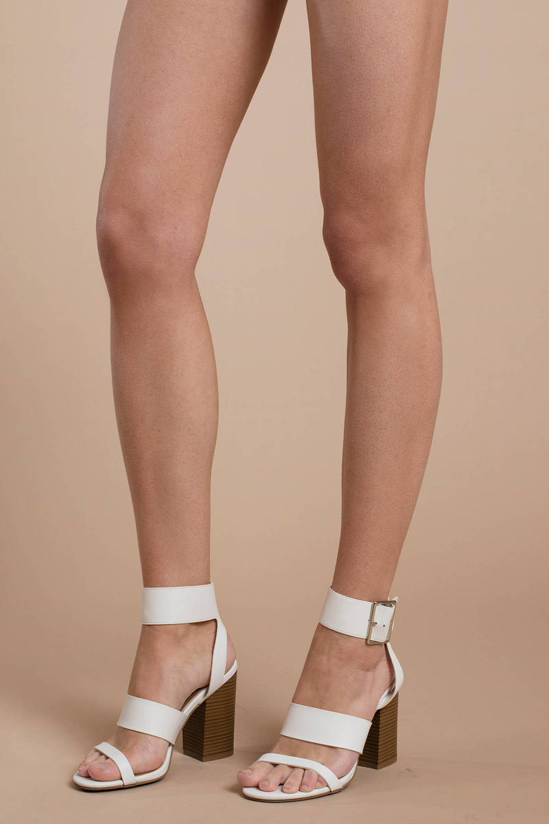 754f34b839c5 White Heels - Oversized Ankle Strap Heels - White Going Out Heels ...