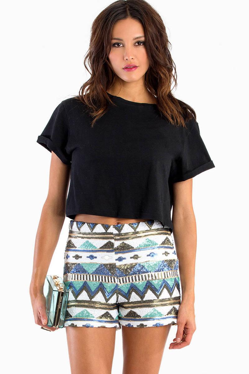 Aztec Sequin Shorts