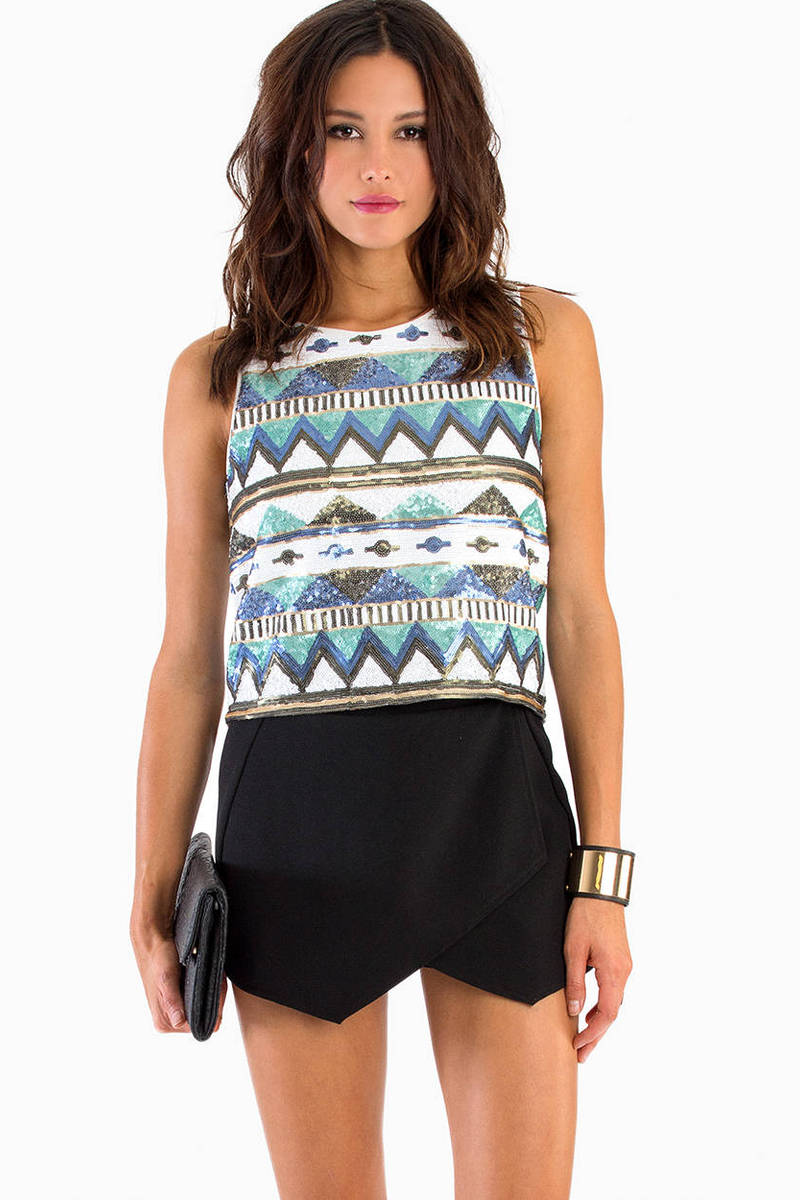 Aztec Sequin Top