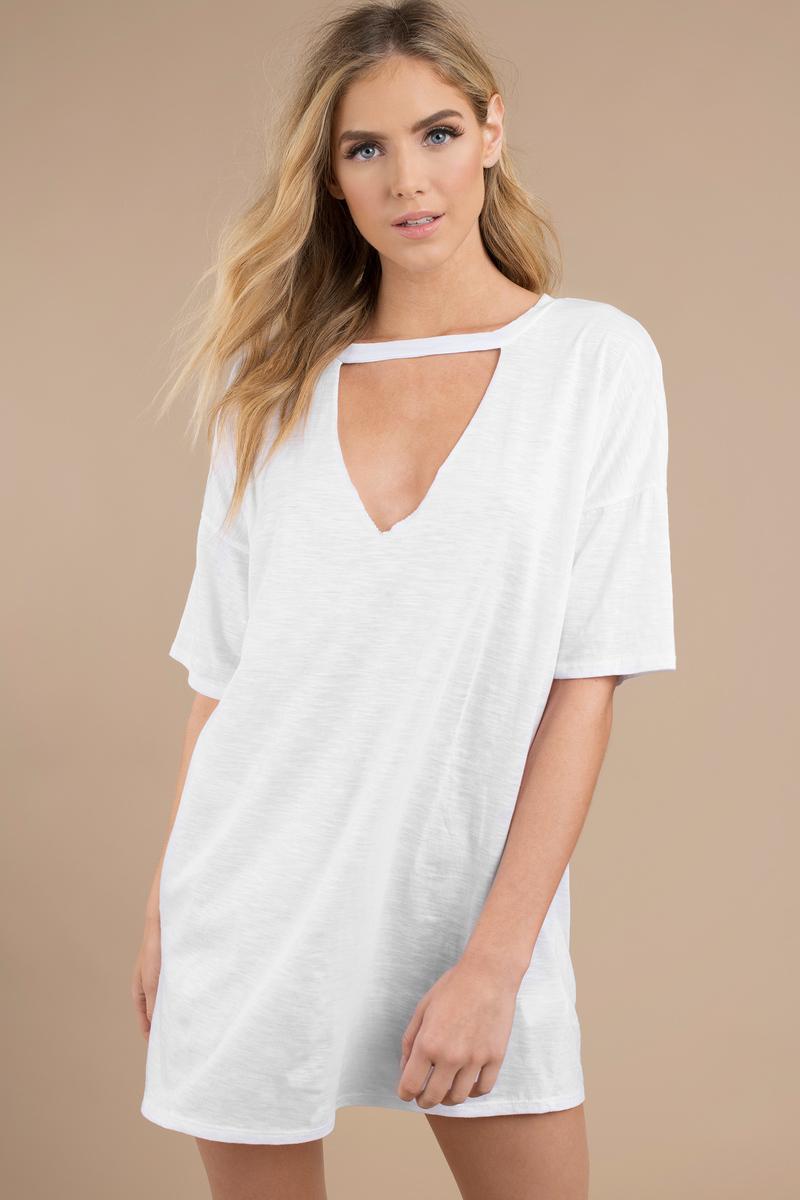 c107db601cd White Shirt Dress - Choker Dress - Jersey Trapeze Dress - Day Dress ...