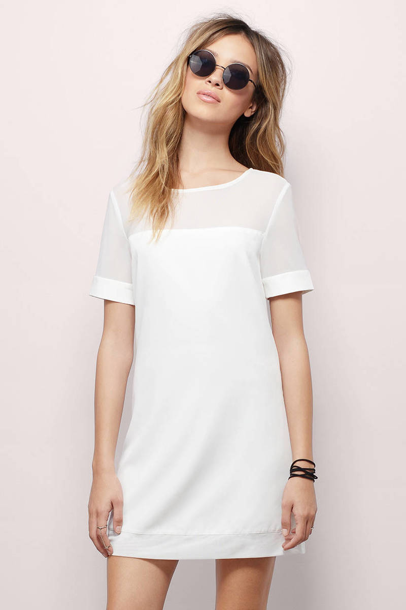 Ballpark White Shift Dress