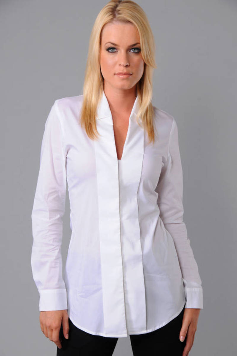 3fea685e75a Trendy White Bailey 44 Shirt - Elegant Shirt - White Drape Blouse ...