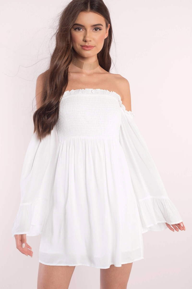 ccfd61c78a25b Cute White Shift Dress - Off Shoulder Dress -  84