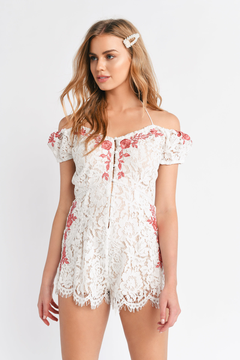 5d95569c38bf White Romper - Strappy Embroidered Romper - White Floral Romper - AU ...