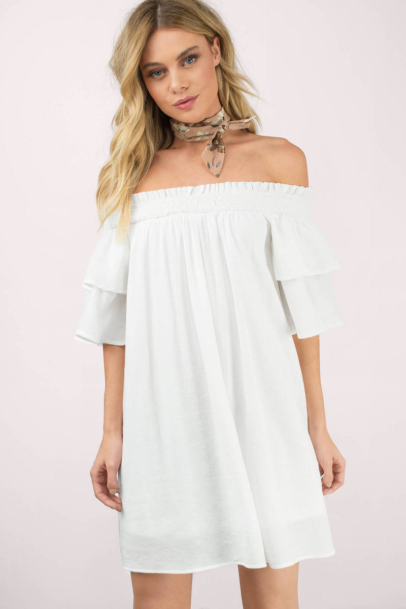 Bianca White Off Shoulder Shift Dress