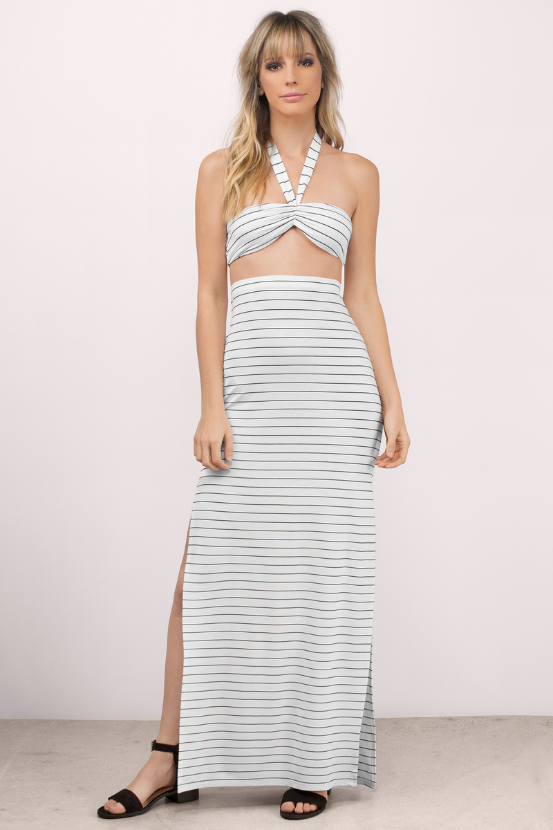 White & Black Maxi Dress - White Dress - Striped Dress - Maxi ...