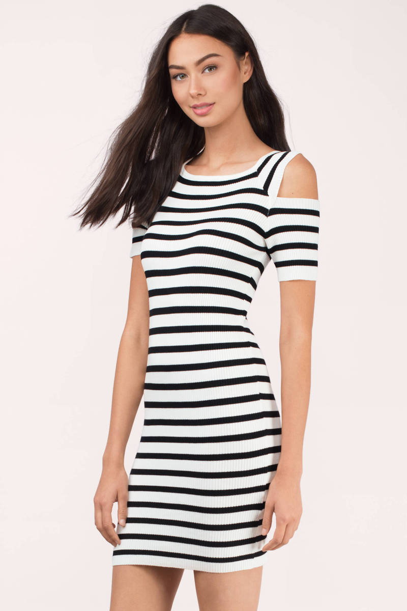 Annmarie White & Black Striped Ribbed Bodycon Dress