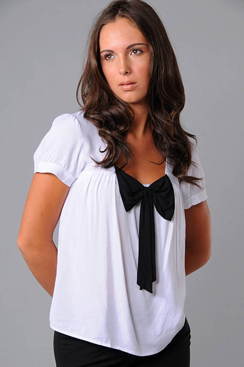 White Blouse Front Bow Blouse White Short Sleeve Blouse Black