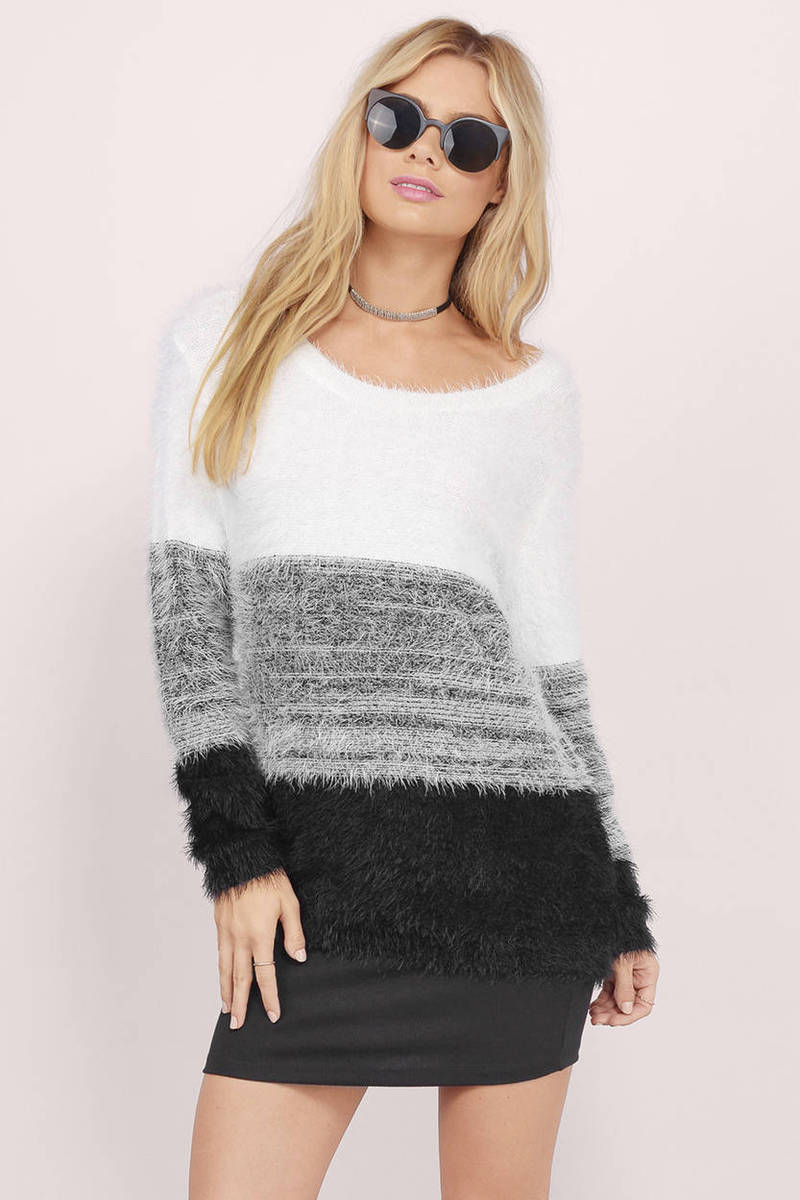 Dhalia White & Cobalt Knitted Sweater