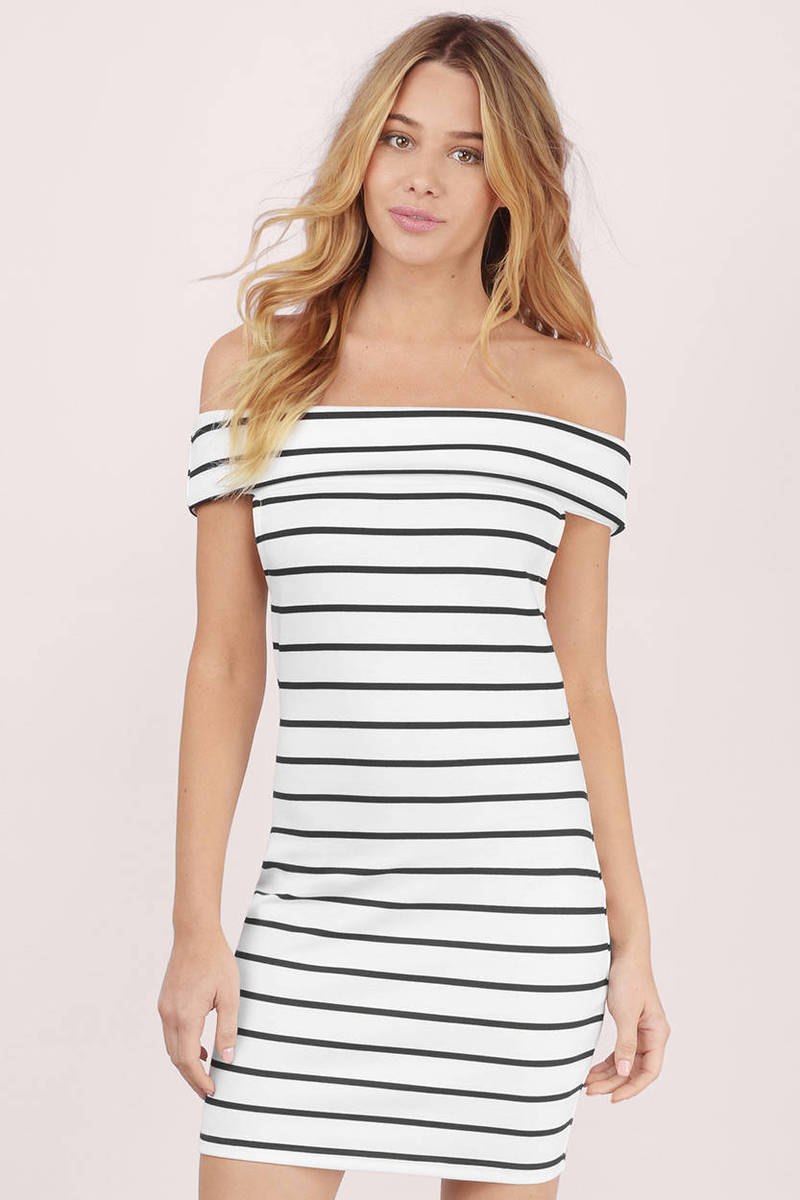 74bbbd9e6347e White   Black Bodycon Dress - Off The Shoulder Dress - Bodycon Dress ...