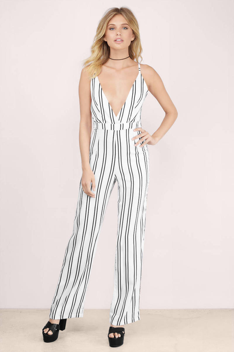 Front Of The Line Pinstripe Jumpsuit