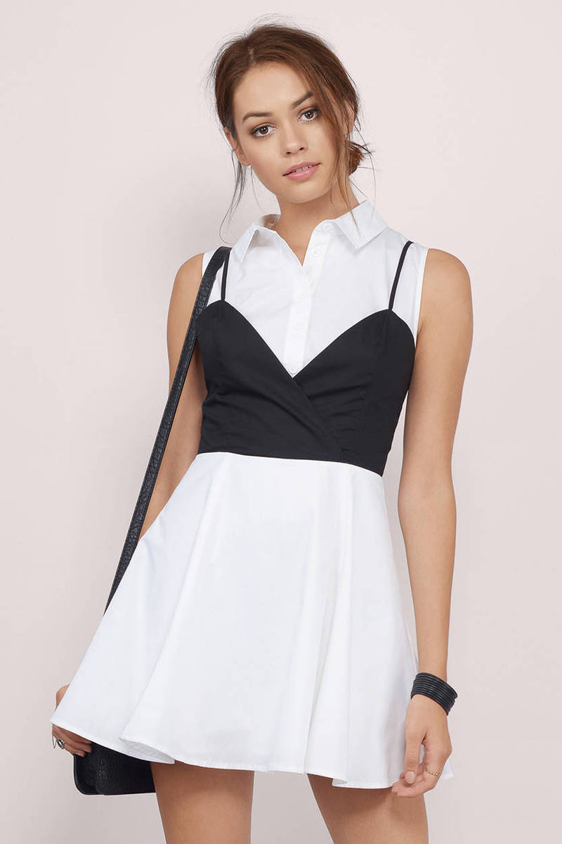 Straight A White & Black Skater Dress
