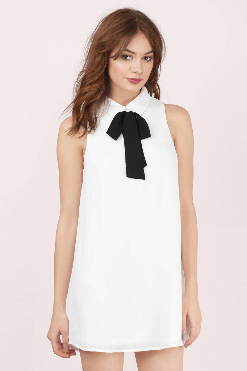Trysha Tie White & Black Front Tie Shift Dress