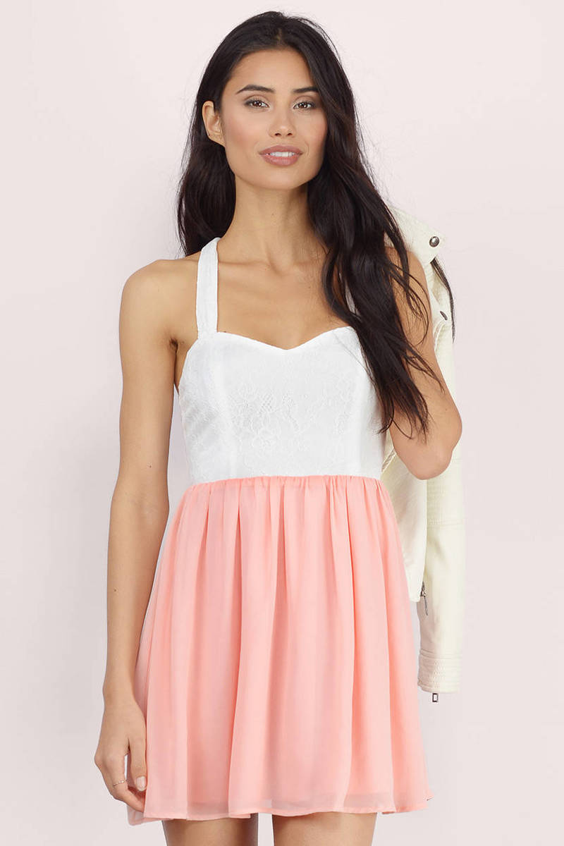 Doubled Deedee White & Orchid Skater Dress
