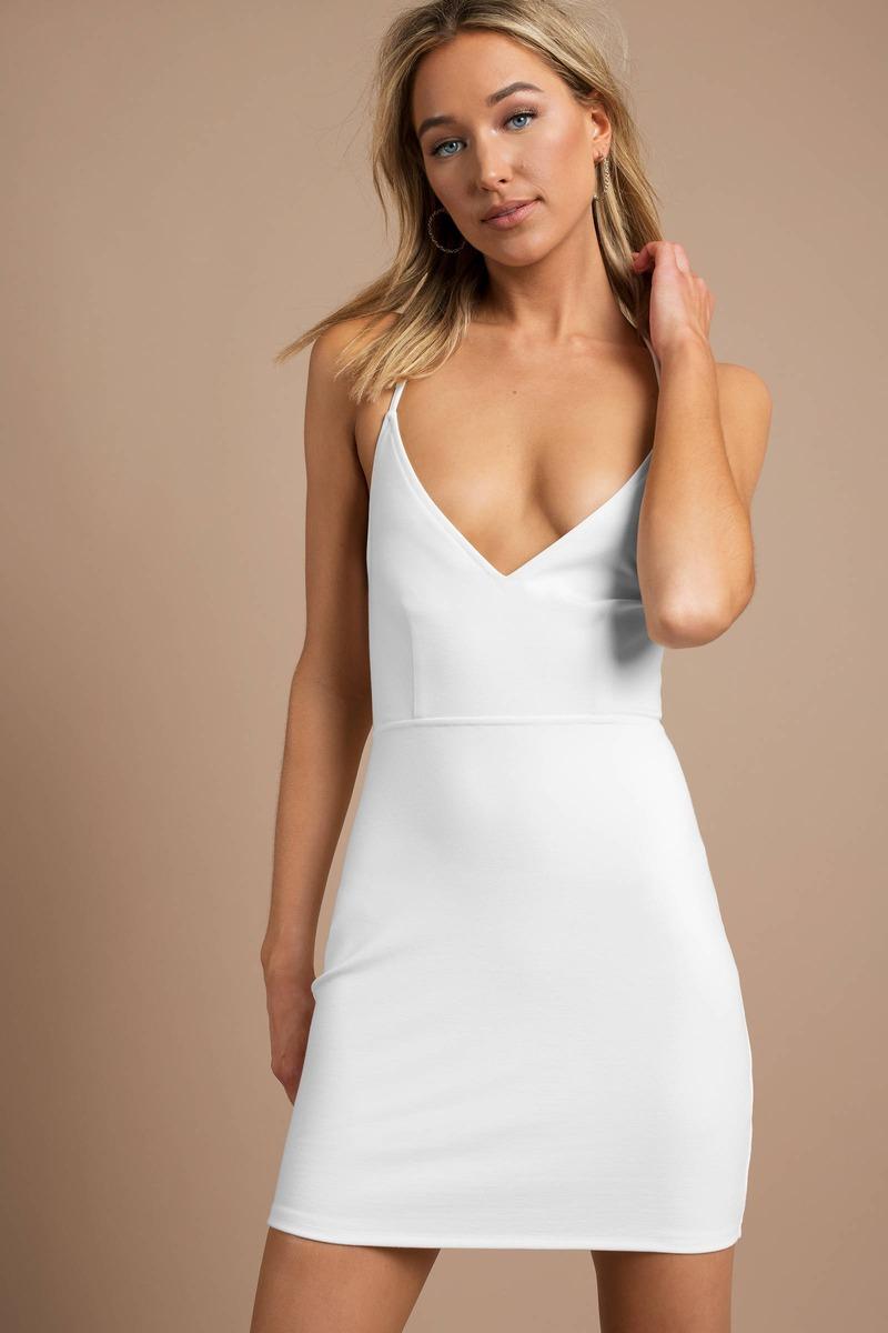 c75efca71d40 White Bodycon Dress - Deep V Bodycon Dress - White Strappy Dress ...