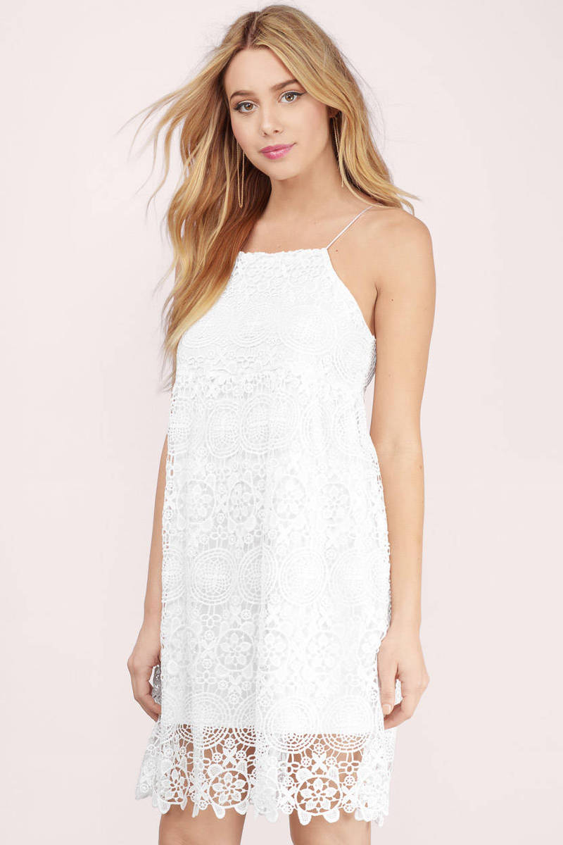 Candise White Patterned Lace Shift Dress