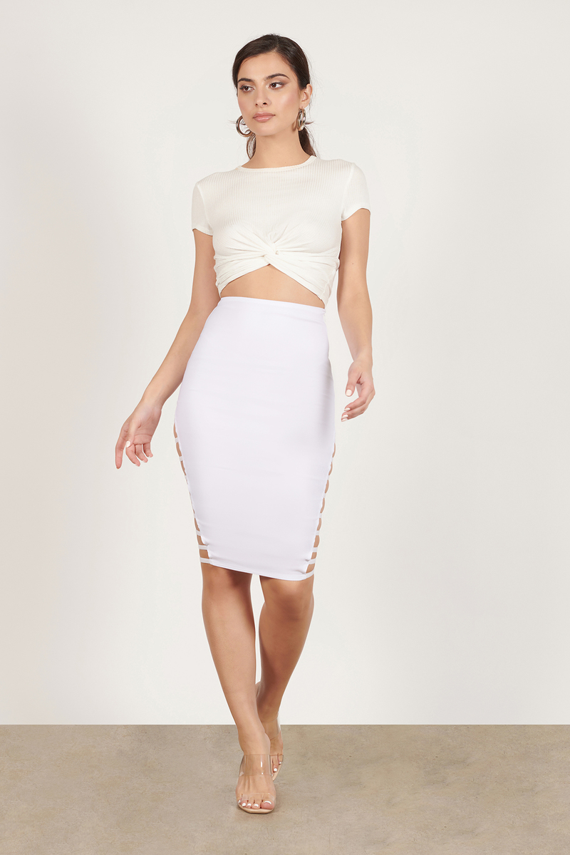 Rehab Clothing Rehab Clothing Can't Be Tamed White Pencil Skirt