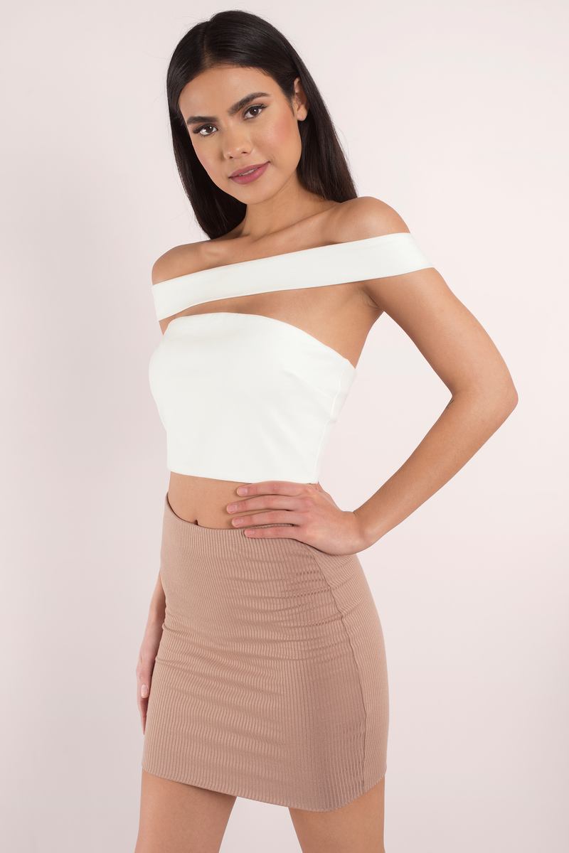 7ff5030b67d Trendy White Crop Top - White Top - Off Shoulder Top - White Crop ...